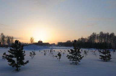 Новосибирский крематорий на закате
